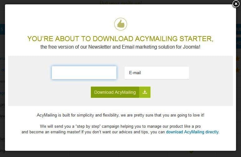 Регистрация для загрузки AcyMailing