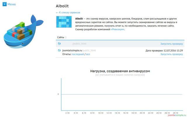 Сканер вирусов Aibolit на хостинге Beget