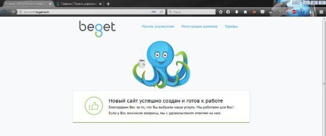 Пустая страница созданная при регистрации доменного имени в хостинговой компании Beget