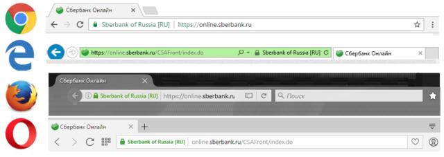 Вид зеленой строки HTTPS в браузере. Высокой надежности SSL-сертификат.