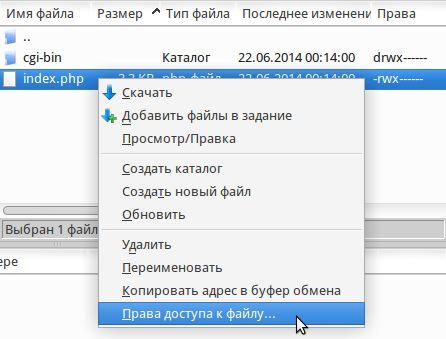 Просмотр и изменение прав доступа к файлам в Filezilla