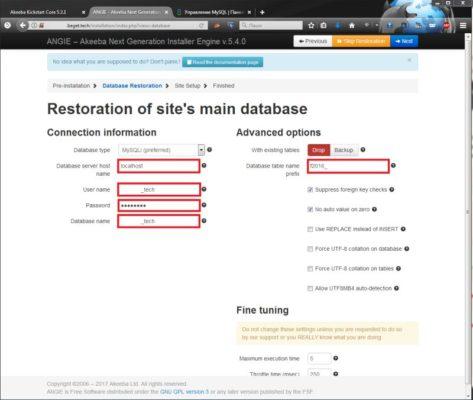 Окно Akeeba Kickstar настройки подключения MySQL