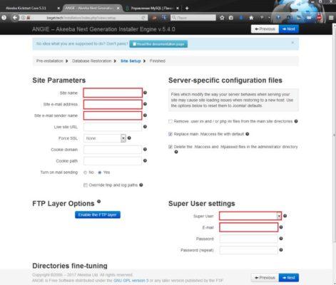 Окно настроек сайта Joomla при восстановлении скриптом Akeeba Kickstar