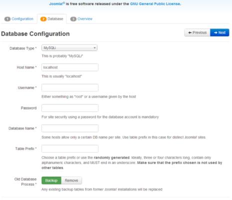 Настройка базы данных для установки Joomla